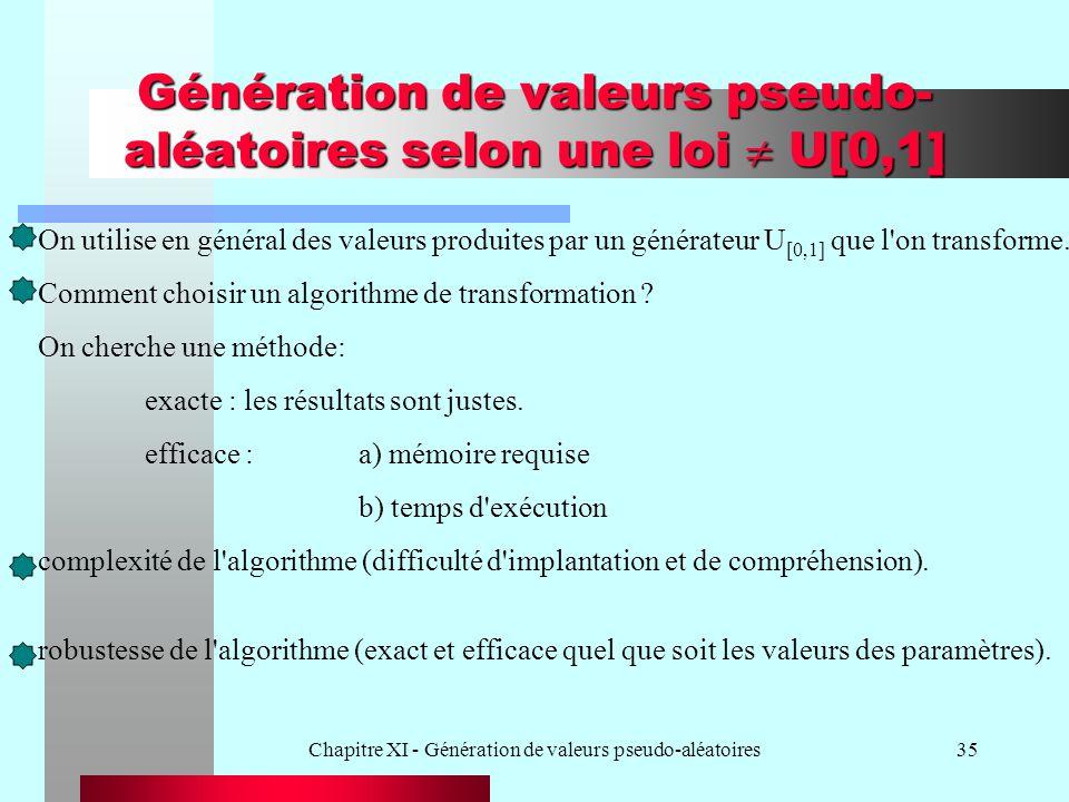 Génération de valeurs pseudo-aléatoires selon une loi  U[0,1]